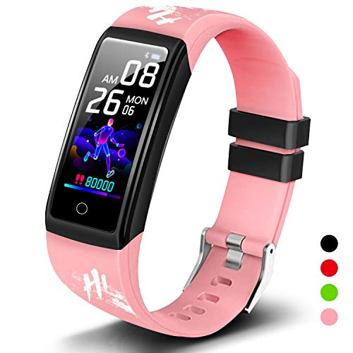 Smartwatch Orologio Fitness Uomo Donna Bambini Impermeabile Activity Tracker Cardiofrequenzimetro Polso Contapassi Smart Watch Offerta Intelligente Bluetooth Sport Orologio per Android iOS(Rosa)