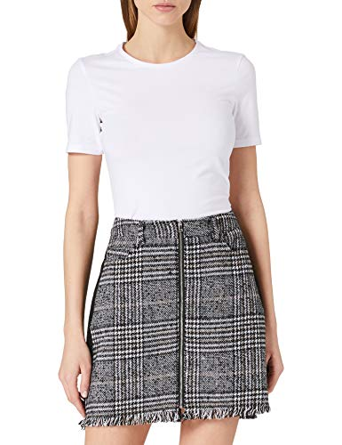 Pieces PCJULIA HW Skirt D2D Jupe, Noir/Carreaux : Carreaux, XL Femme