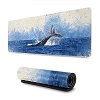 マウスパッド 大型 ゲーミングマウスパッド 水彩画 鯨 しっぽ 海 芸術 かわいい 防水性 耐久性 滑り止め 低反発キーボードパッド 多機能 超大判 30×80cm おしゃれ