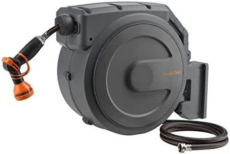 Giraffe Retractable Garden Hose Reel 1 2 x 130 ft Super Heavy Duty Any Length Lock Slow Return product image