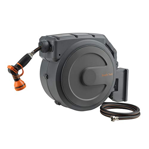 "Giraffe Retractable Garden Hose Reel 1/2"" x 130 ft Super Heavy Duty Any Length Lock Slow Return System Wall Mounted and 180°Swivel Bracket"