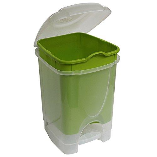 M-Home | Poubelle à Pédale / Salle de Bain | Plastique | Vert | 23 x 20,5 x 30 cm / 6 L | BINNY DUALFACE 6 | PLS571D-25