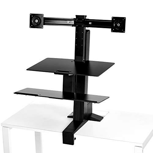 AmazonBasics - Standing desk ergonomico con workstation per due monitor
