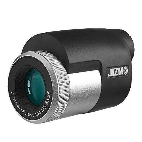 Jizmo 8x25 High Definition Monocular, Close Focus 1 ft, Fully Multi Coated Optical Lens BAK4 Prism, Mens Gift Wide View Monocular for Bird Watching Hunting Travel Sports Events