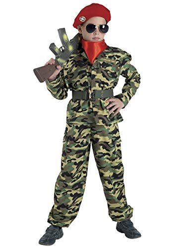 PRESTIGE & DELUXE Costume Vestito Carnevale Rambo Militare Green Bere 5 6 7 8 9 10 11 12 13 14 (13-14 Anni Altezza Bimba/o 168 cm)