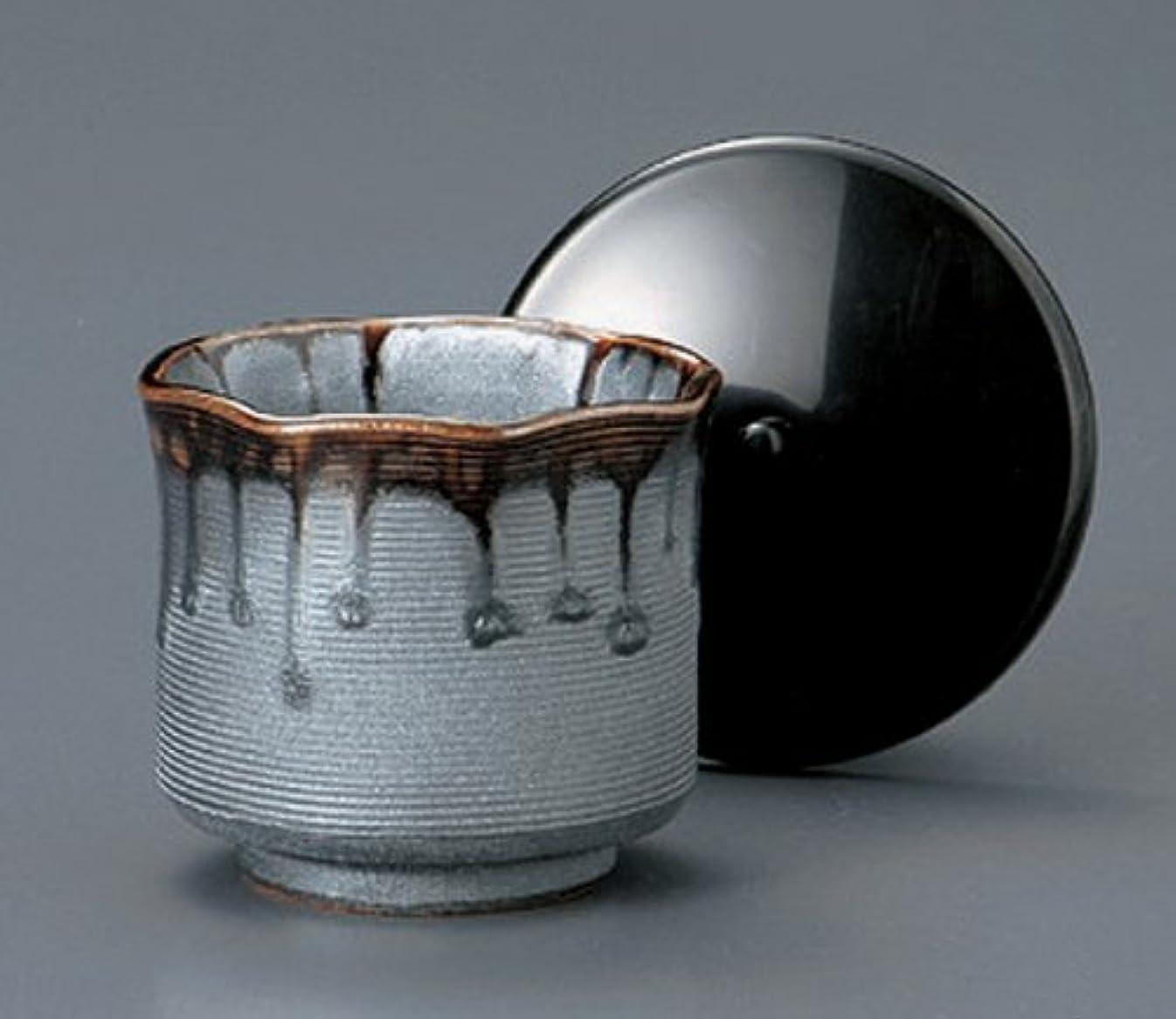 ジェットポンプ多年生黒銀彩 土物 9cm ポリフタ付き 八角ご飯茶碗5点セット かやくご飯、五目ご飯、丼物に