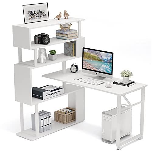 Tribesigns Rotating Computer Desk with 5 Shelves Bookshelf, Modern L-Shaped Corner Desk with Storage, Reversible Office Desk Study Table Writing Desk on Wheels for Home Office (White)