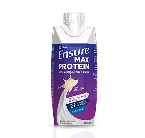 Ensure Max Protein - Alto contenido en proteínas, batido nutricional, sabor a vainilla - Pack 8 x 330 ml