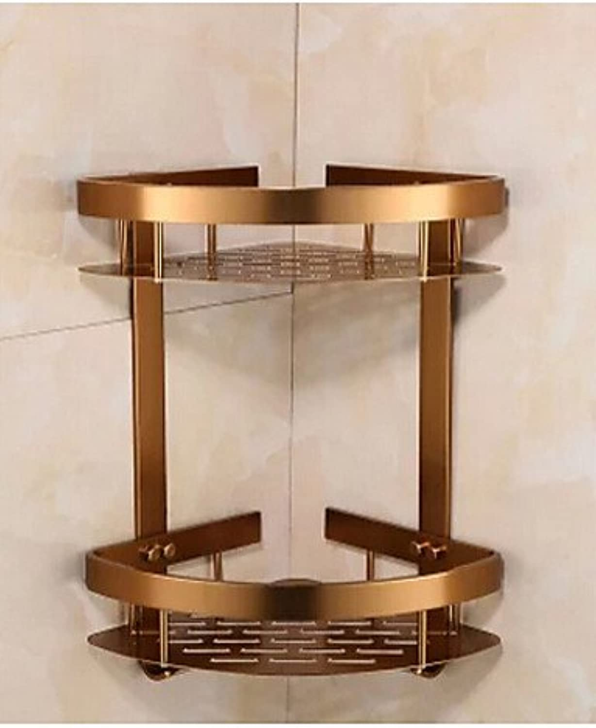 WYMBS Antique Solid Aluminum Bathroom Shelf , Neoclassical Antique Bronze Wall Mounted