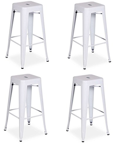 La Silla Española - Pack 4 Taburetes estilo Tolix. Color Blanco. 76x43x43
