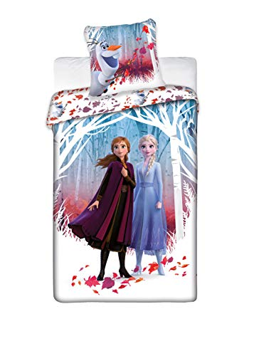 cadeaux store Parure de lit Disney Reine des Neiges 2 - Housse de Couette Frozen 140x200 cm + Peluche Anna 30cm(Anna)