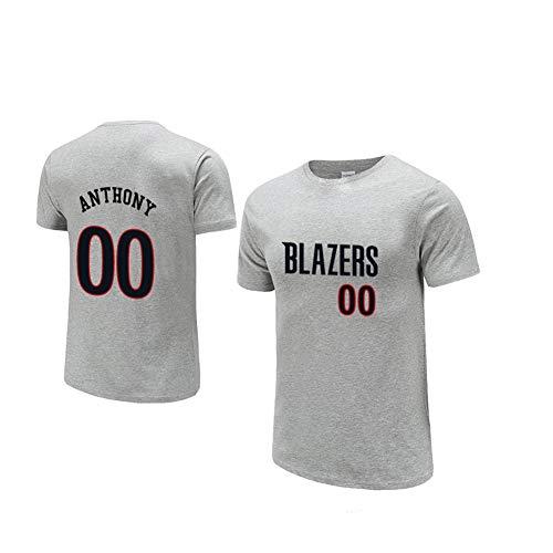 Carmelo Anthony 00 Blazers Basketball Trikots, Männer-T-Shirts Wettbewerb Sportbekleidung Basketball Sportbekleidung-Grey-L