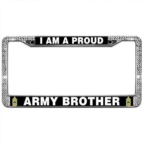 paipaidiedie License Plate Aluminum Metal Frame US Army Quotes Rhinestone License Plate Frame Free Screw Caps Fit US Premium Crystal Proud Army Brother License Plate Frame for US Cars