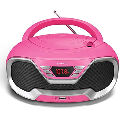 Oakcastle CD200 Tragbarer CD-Player mit Bluetooth & FM-Radio, 3,5-mm-AUX-Kopfhöreranschluss und USB-Eingang, für Erwachsene und Kinder mit Stereolautsprechern (pink)