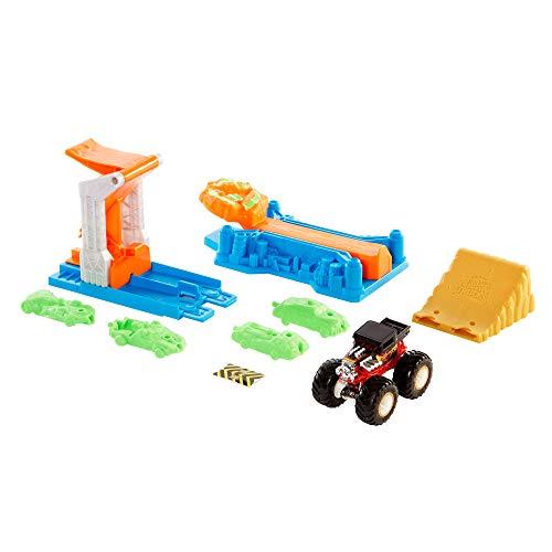 Hot Wheels Monster Trucks Set de juego explosión de vehículos Pista de coches de juguete, incluye 1 coche (Mattel GVK08)