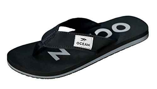 MADSea Damen Herren Zehenstegpantolette Ocean Zehentrenner Sandale schwarz Silber, Farbe:schwarz, Größe:43 EU