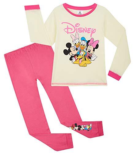 Disney Schlafanzug Mädchen, Mickey Mouse und Seine Freunde Pyjama Kinder, Baumwolle Kinder Schlafanzug Lang, Kleinkind und Baby Schlafanzug (3-4 Jahre, Rosa/Gelb)