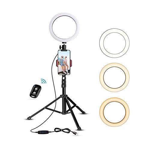 LED Selfie Ringleuchte Stativ mit Fernbedienung,Tischringlicht mit 3 Farbe und 11 Helligkeitsstufen,LED Ringlicht Selfie Ring für schöne Fotos oder Videosschooting, live Streaming, Portrait, schminken