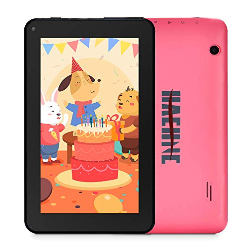 Haehne 7' Tablet PC - Google Android 9.0 HD Tablet, Quad Core 1G RAM 16GB ROM, Cámaras Duales, WiFi, Bluetooth, Rosado