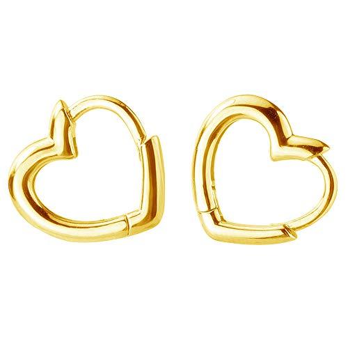 Dainty Love Heart Shaped Small Hoop Sleeper Earrings for Women Girls S925 Sterling Silver 14K Daith Heart Cartilage Tragus Cute Minimalist Hoops Jewelry Valentine