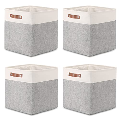 Fabric Baskets Storage Bins 13 Inch Cube Storage Baskets with Leather Handle Clothes Basket for Gift, Large Baskets for Storage Toys, Books, Blankets (White&Gray)