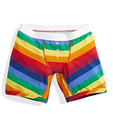TomboyX 6' Boy Short Boxer Briefs with Fly, Cotton Form-Fitting Underwear, Breathable All Day Comfort- X-Large/Rainbow Pride Stripes
