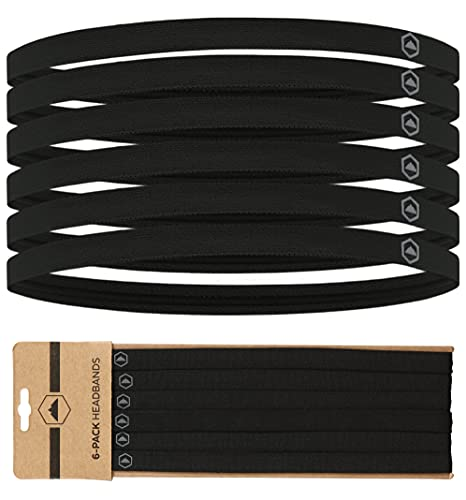 Elastic Thin Sports Headbands - Athletic Non Slip Skinny Headbands for Women,...