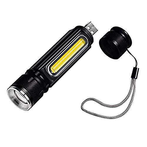 LHKJ LED Linterna Táctica USB Recargable Impermeable IP65 Alta Potencia Portátil para Cámping Ciclismo Excursionismo ect, 4 Modos Luz