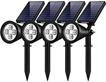 InnoGear Solar Lights Outdoor Upgraded Waterproof Solar Powered Landscape Spotlights 2-in-1 Wall Light Decorative Lighting Auto On/Off for Pathway Garden Patio Yard Driveway Pool Pack of 4  White