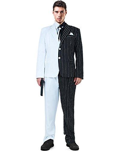 Miccostumes Herren 2 Gesicht und weiß Cosplay Anzug Kostüm mit Krawatte und Fälschungs-Kragen Männer, M Weiß und Schwarz