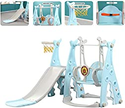 Toddler Climber and Swing Set Slide Swing Combo 3 in 1 Climber Sliding Playset w/Basketball Hoop for Kids Safe Slide Swing (Blue)