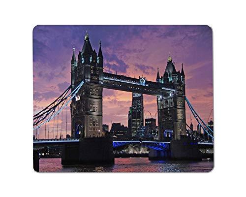 Rae Esthe Puente del Paisaje Mousepad Antideslizante Rectangular Torre del Puente de Londres sobre el río Támesis en la Puesta del Sol en Londres, Inglaterra. Alfombrilla de ratón para Juegos