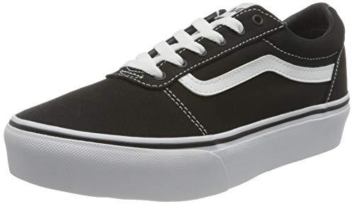 Vans Ward Platform Canvas Zapatillas Mujer, Negro (Canvas) Black/White 187), 35 EU (3 UK)