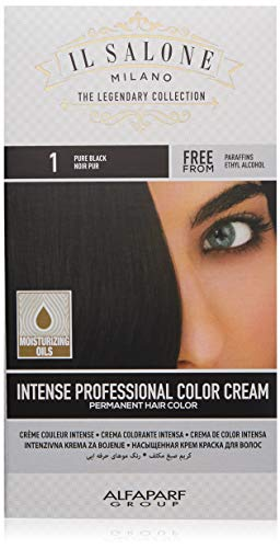 Il Salone Milano Permanent Hair Color Cream - 1 Pure Black Hair Dye - Professional Salon - Premium Quality - 100% Gray Coverage - Paraffin Free - Paraben Free - Ethyl Alcohol Free - Moisturizing Oils