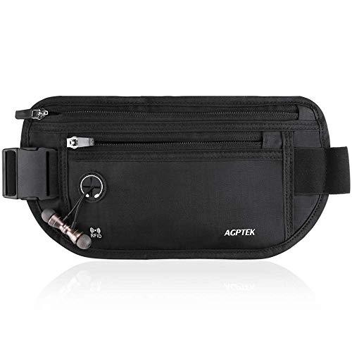 AGPTEK セキュリティポーチ スキミング防止 ウエストポーチ パスポートケース RFID 遮断ケース 盗難対策 貴重品入れ ウエストバッグ ランニングベルト 防犯グッズ 折りたたみ式 薄型 アウトドア 旅行用品 iPhone 7 Plus/6S Plu