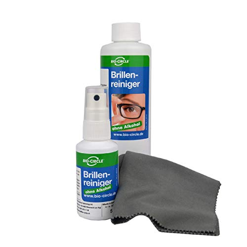 bio-chem Brillenreiniger-Spray mit Anti-Beschlag Funktion Antistatik-Spray Reinigungs-Set 50 ml Sprayflasche + 250ml Nachfüllflasche (300ml) + hochwertiges Mikrofasertuch/Brillenputztuch microfaser