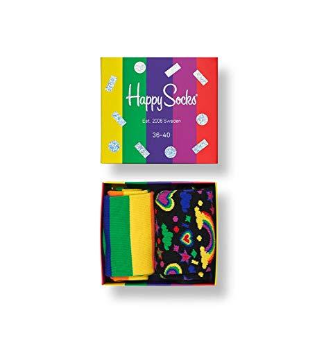 Happy Socks, bunt premium baumwolle Geschenkkarton 3 Paar Socken für Männer & Frauen, Pride Gift Box (41-46)