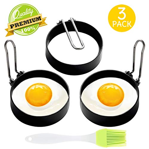Egg Ring, 3 Pack Egg Pancake Maker Mold, Stainless Steel Non Stick Circle Shaper Egg Rings, Kitchen Cooking Tool for Frying Egg Mcmuffin, Sandwiches, Egg Maker Molds Set (3pcs)