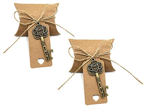 50pcs Skeleton Key Bottle Opener Wedding Party Favor Souvenir Gift Set Candy Box Escort Card Tag and Jute Rope(Silver Keys)