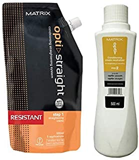 MATRIX Opti. Straight Resistant Straightening Cream (500 ML) & Neutralizer (500 ML) (Set of 2)