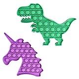 StudentsZone Animal Push Pop Bubble Fidget Sensory Toy Pack, Autism Fidget Toys Set, for Autistic Children, Girls, Boys, 2 Pack, (1 Purple Unicorn + 1 Green Dinosaur)