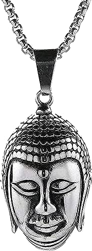 ZGYFJCH Co.,ltd Collar Collar de Moda para Hombres Collar con Colgante de Cabeza Budista Collar Budismo Negro Collar de Plata Inoxidable para Hombres Collar Collar de Cadena Niñas Ni