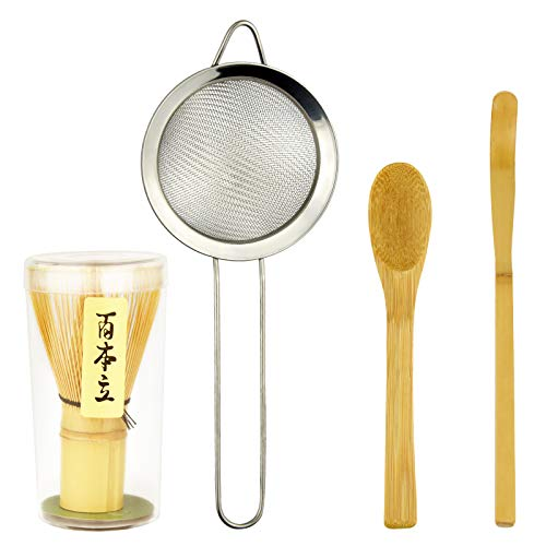 Bskifnn 4PC Japanese Matcha Tea Whisk Set - Matcha Whisk,Tea Spoon,Traditional Scoop, Tea Strainer Perfect Set to Beginners