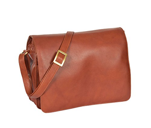 A1 FASHION GOODS Femmes MARRON Sac à Bandoulière En Cuir Dames Médium Taille Classic Casual Flap Over Sac Cross Body - A54