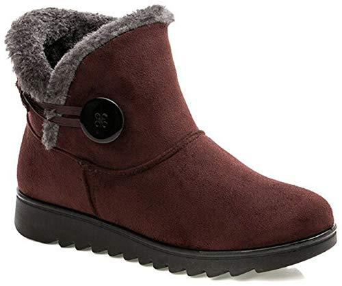 2020 Zapatos Invierno Mujer Botas de Nieve Casual Calzado Piel Forradas Calientes Planas Outdoor Boots Antideslizante Zapatillas para Mujer EU40/fabricante 255,Botines Marrones