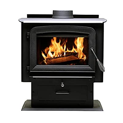 Ashley Hearth AW2020E-P 2,000 Sq. Ft. Pedestal Wood Burning Stove, Black by Ashley Hearth Products