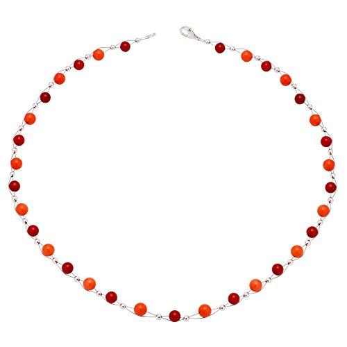 Kette Collier aus echter Koralle rot orange Korallenkette Halskette Halscollier Damen