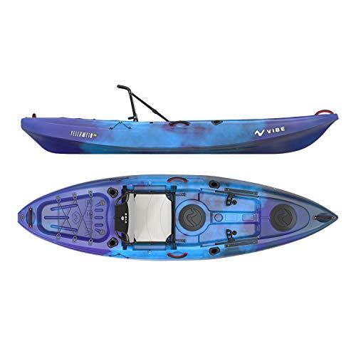 Vibe Kayaks Yellowfin 100 10 Foot Angler Sit On Top Fishing Kayak, Adjustable Hero Comfort Seat, Flush Rod Holders & Built in Storage (Galaxy)