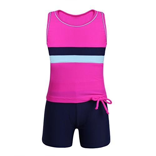 TiaoBug Kinder Sport Badeanzug Tankini Bikini Set Badeshirt ärmellos T-Shirt und Badeshorts Schwimmanzug Zweiteiler Badekleidung Rose 152