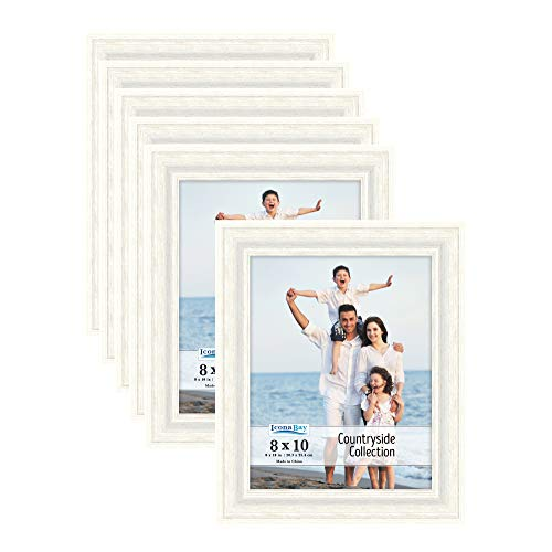 Icona Bay 8x10 Picture Frames (Alpine White, 6 Pack), French Country Style Picture Frame Set, Wall Mount or Table Top, Countryside Collection